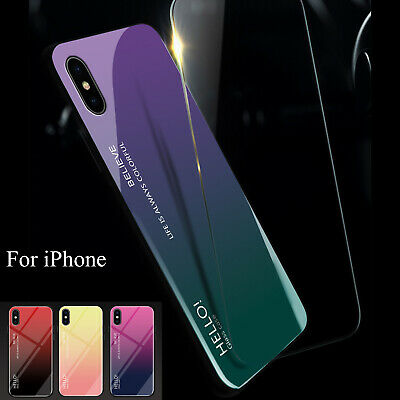 Gradient Tempered Glass Shockproof Case Cover For iPhoneX XS Max XR 7/8+Plus 6s