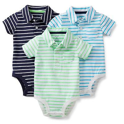 Carter's baby 3-pack polo style stripped short sleeve bodysuits