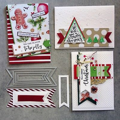 Shopaperartz STITCHED FISHTAIL TAGS BANNERS 4 PC CHRISTMAS BIRTHDAY CUTTING DIES