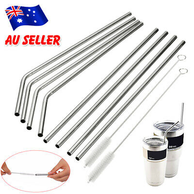 10/20/30pcs Reusable Stainless Steel Metal Drinking Straws + Cleaner Brush Sets