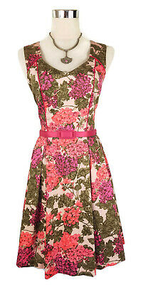 REVIEW Dress - 1950s Vintage Retro Pink Green Floral Geranium Pleated A-Line - 8