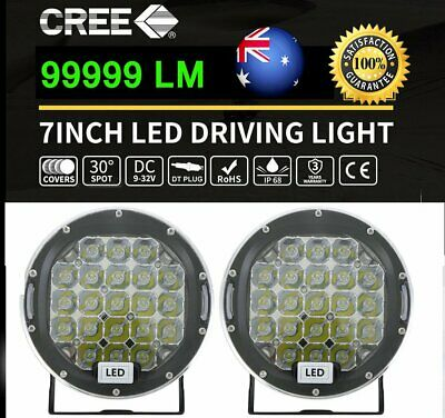 """2"""" 7inch 99999W CREE Round LED Driving Lights Black SPOT Work Offroad 4x4 Truck"""