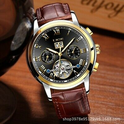 Luxury LIGE Mens Genuine Leather Day Date Automatic Mechanical Wrist Watch New