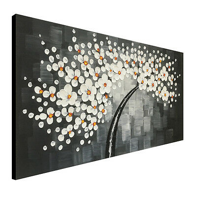 White Chinese Plum Blossom Canvas Wall Art Framed Floral Oil Painting Home Decor