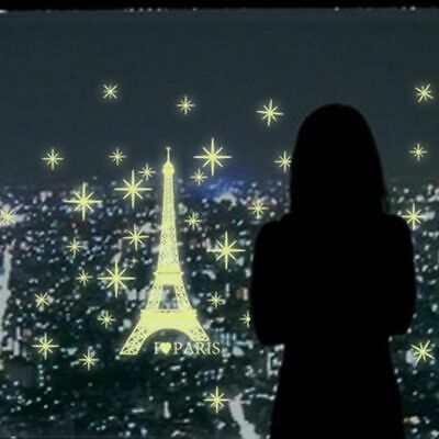 Romantic Paris Eiffel Tower Decal Wall Sticker Mural Room Decor Glow in the Dark