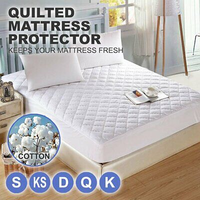 Cotton Quilted Aus Made Fully Fitted Bed Mattress Protector(All Size) GR