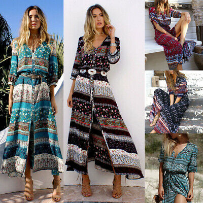 Fashion Casual Women Sexy Floral Long Maxi Dress Summer 3/4 Sleeve Sundress
