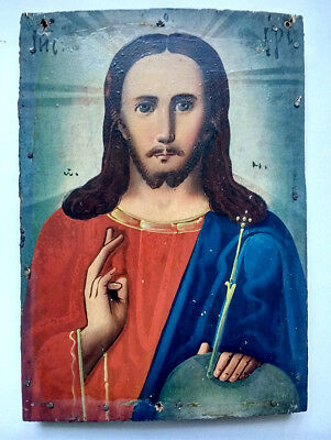 Antique Orthodox Icon Jesus Christ Russian Empire Hand Painted Board 17x12cm