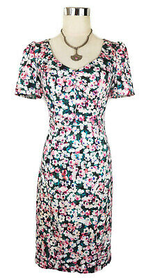 REVIEW Dress - 1950s Vintage Retro Green Pink Floral Sweetheart Pencil Stretch 8