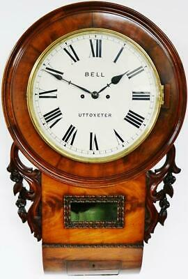 Antique English 8 Day Figured Mahogany Twin Fusee Striking Drop Dial Wall Clock