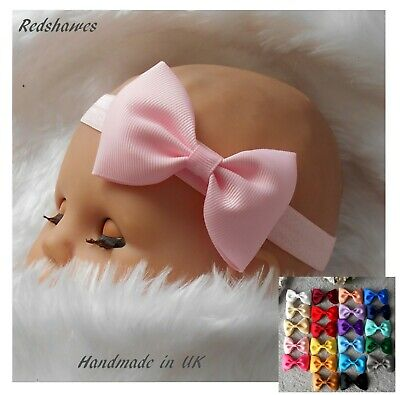 Baby Headband with 7cm Bow (Em1) - soft stretchy elasticated- combined post
