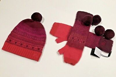 NEW BURBERRY Girl CASHMERE Pom Pom Beanie Hat + Gloves M L Fair Isle b7b1cb7b112a