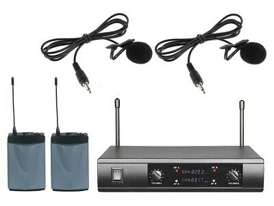 UHF 2 Channel UHF Wireless Mic System with 2 Lavalier Microphone Cordless Lapel