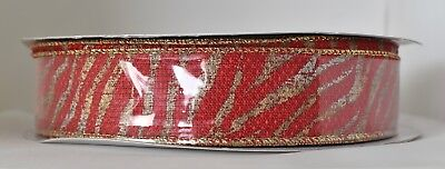"""1.5"""" Zebra Print Wired Ribbon: Red, Gold, Silver (50 Yards) Bow Gift Wreath"""