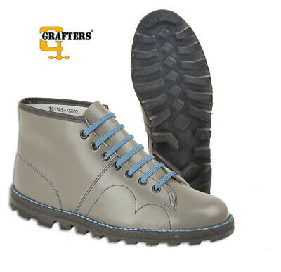 228319426bd MONKEY BOOTS LEATHER Grafters Unisex 60s Classic Mod Retro in Grey UK 3-12