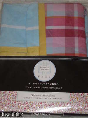 DIAPER STACKER BABY NURSERY PINK BLUE SWEET STITCHES LAYETTE KENNETH BROWN  New