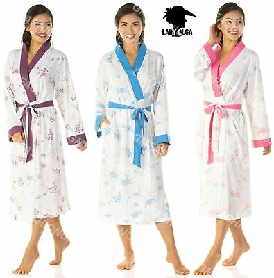 Womens Ladies Long Floral Lightweight Jersey Summer Dressing Gown Robe Gowns