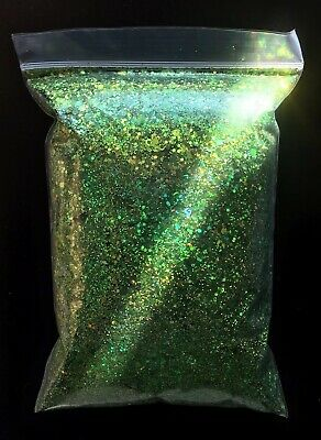 """Nail Art Chunky Fine Green Holographic Mixed Sized Hex Glitter  """"EDEN"""" - 5g Bag"""