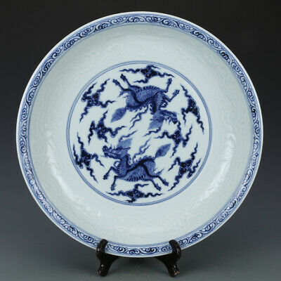 China old antique Porcelain Ming xuande blue white painting kylin Unicorn plate