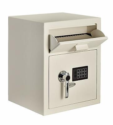 AdirOffice White Steel Safety Deposit Storage Box Digital Lock Front Load Safe