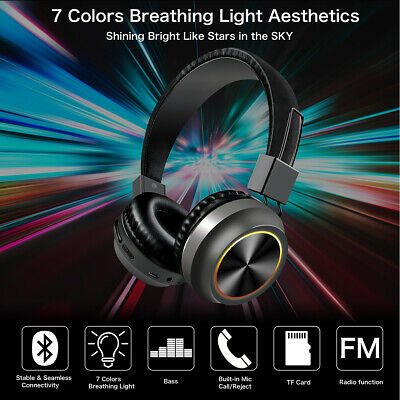 Wireless Bluetooth Headset Over-Ear Headphone LED Stereo Sport Earphone W/Mic