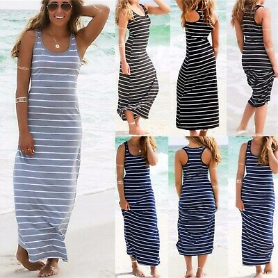 UK Boho Womens Sleeveless Striped Bodycon Sundress Ladies Summer Long Maxi Dress