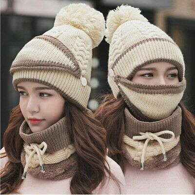 Women Winter Beanies Knitted Hat Thickened Cap with Warm Mask and Neck Scarf