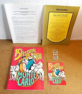 Programme & documents 15e FESTIVAL INTERNATIONAL DU CIRQUE MONTE CARLO - 1990