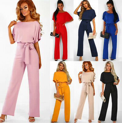 Plus Size 6-20 Womens Bandage Holiday Long Playsuit Shorts Summer Beach Jumpsuit