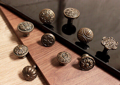 Antique Gold Cast Iron Cupboard Knob Chest Drawer Round Handle Cabinet Pull