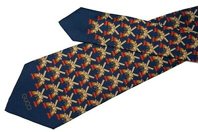 dc8d4958 Gucci tie Vintage 70s wide navy blue silk necktie Crossed guns and brand  name