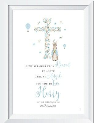 Personalised Peter Rabbit baby pink print picture  nursery baptism christening