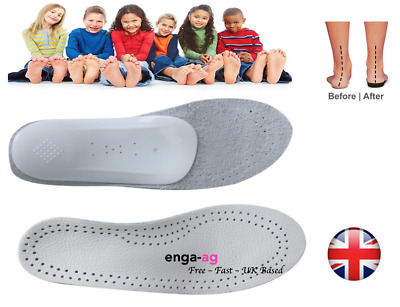 Children Flat Feet Orthotic Arch Heel Support Leather Insoles Shoes Inserts Pads