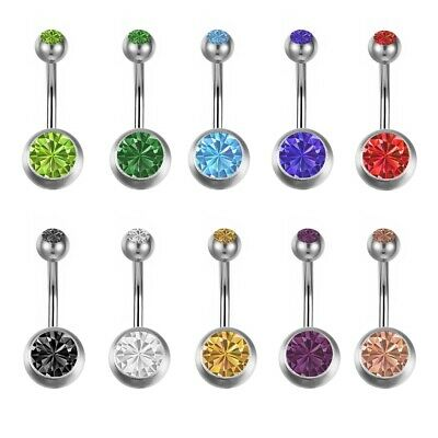 10Pcs Surgical Crystal Belly Bars Navel Button Ring Gem Body Piercing Jewellery