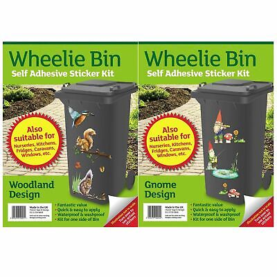 2 x Wheelie Bin Stickers Self Adhesive Decoration Dustbin House Numbers Cover