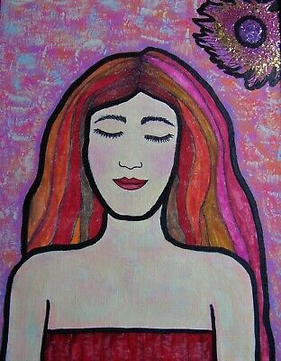 """Girl in Red Multi-Color Hair"" acrylic painting original signed by Carla Dancey"