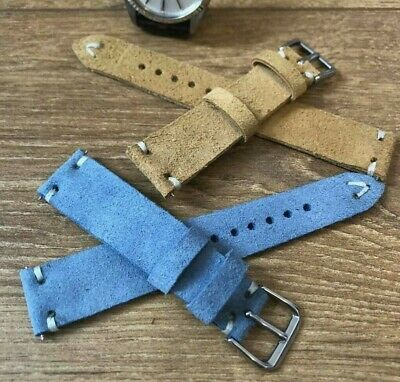 Italian Vintage Genuine weathered Calf Leather watch strap H/M 18 19 20 21 22mm