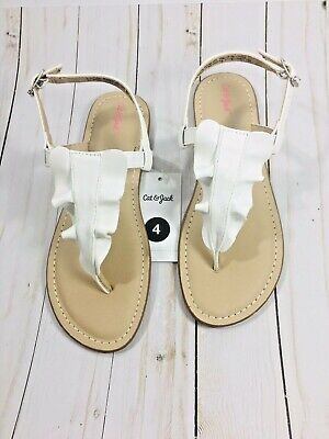 b1ea12a0a568 New CAT & JACK Thong Sandal Naomi White Ruffle Summer Spring Shoes Girls  Size 4