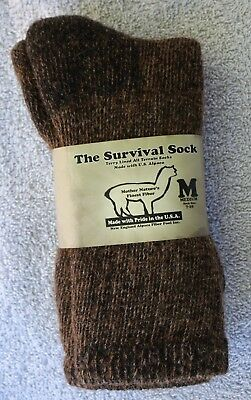 """/""""THE SURVIVAL SOCK/""""  ALPACA SOCKS-Size L 10-13 Terry lined Gray-Made In USA-NEW"""