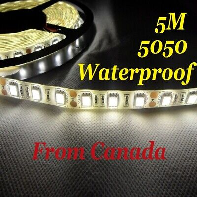 5M Neutral White 4500K 5050 SMD 300 LED Strip light flexible WATERPROOF 12V