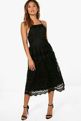 b68442105d48 Boohoo Boutique Lace Strappy Back Skater Dress Black Size 10 New with Tags