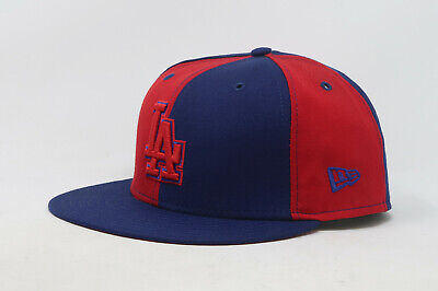 New Era 59Fifty Hat Mens MLB Los Angeles Dodgers Royal Blue Red Panel Fitted Cap