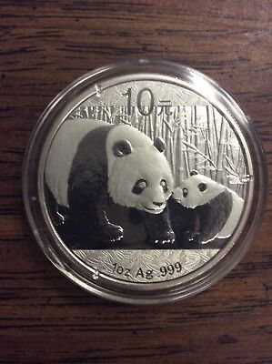 2011 China Silver Panda 1 Oz. .999 Fine Silver Coin  10 Yuan in Mint Capsule