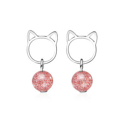 Ladies 925 Sterling Silver Strawberry Crystal Bead Sweet Cat Ear Stud Earrings