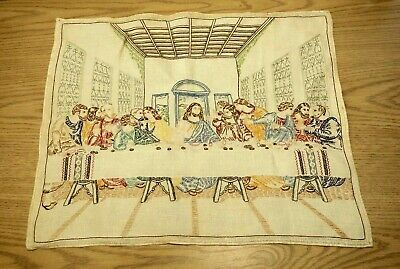 Vintage cross stitch Last Supper finished piece personal note linen completed