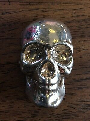 10 oz .999 Fine Yeager's Poured Silver YPS Skull #958 MINTAGE OF 1000