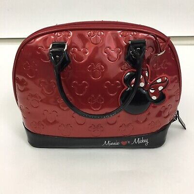 525be2d205e4 Loungefly Minnie Mouse Embossed Purse Disney shiny Large handbag red black