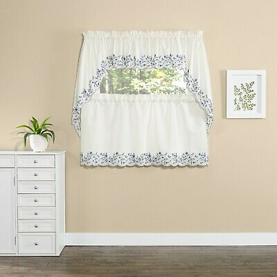 Bloom kitchen curtains swag valance tiers floral light blue cobalt navy colonial
