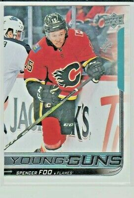 2018-19 Spencer Foo Ud Series 2 Young Guns Rookie Card #470 Flames