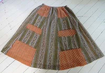 SKIRT 1970s Vintage Gored A line Chessa Davis Saks Fifth Avenue COTTON Patchwork
